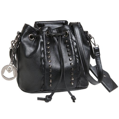 MG Collection BETTY Gothic Studded Drawstring Bucket Style Shoulder Bag – Black