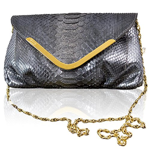 Ghibli Italian Designer Anthracite Grey Python Leather Gilded Large Clutch w/Chain