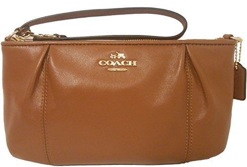 Coach 52153 Saddle Brown Colette Large Leather Zip Wristlet