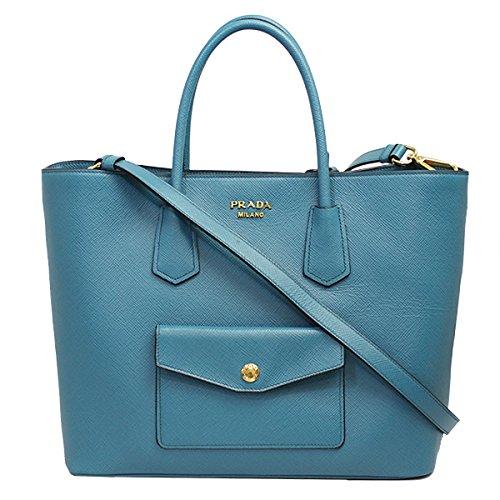 Prada Women's Blue Saffiano Leather Tote Bag W/strap Bn2729