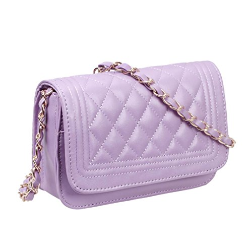 BMC Womens Solid Color PU Leather Diamond Quilted Pattern Mini Handbag Clutch