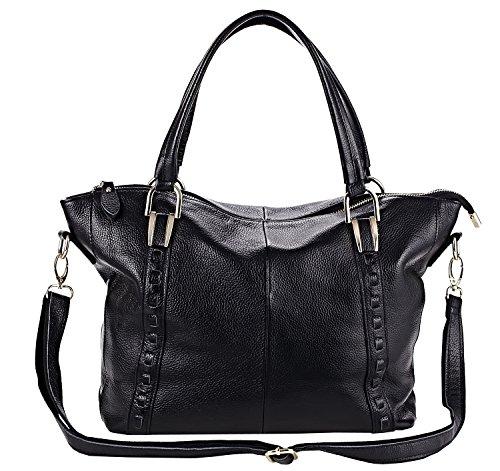 Heshe Lady's 100% Genuine Leather Lichee Simple Style Fashion Tote Top Handle Shoulder Crossbody Bag Satcehel Purse Handbag for Women