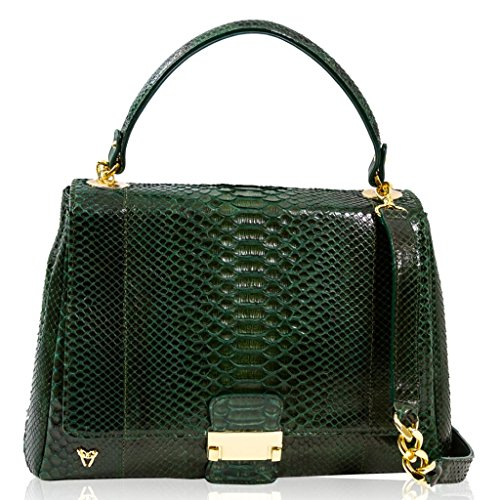 Ghibli Italian Designer Emerald Green Python Leather Top Handle Crossbody Bag