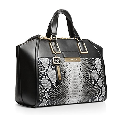 Calvin Klein Valerie Textured Snake Print Dome Satchel Bag Snow