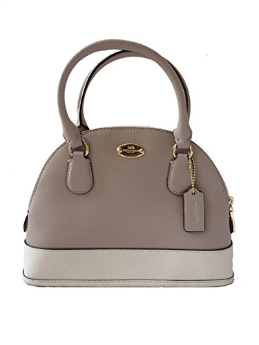 Coach Crossgrain Birch Grey & Chalk Leather MINI Cora Domed Satchel