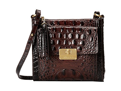 Brahmin Melbourne Mimosa Crossbody Leather Bag in Brown Cocoa