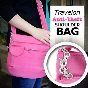 New Travelon Anti-Theft Shoulder Bag (Flamingo)