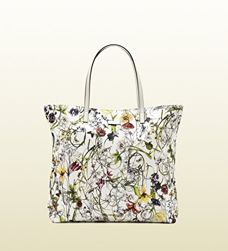 Gucci White Medium Flora Infinity Canvas Tote Handbag New Authentic