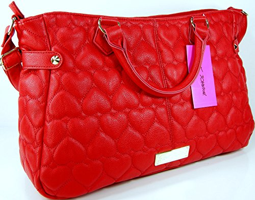 Betsey Johnson Purse Be Mine Bright Red East West Satchel Tote Bag Puffy Hearts Hand Bag