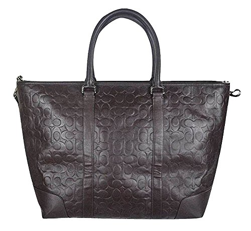 Coach Heritage Embossed Signature C Brown Leather Extra Large Weekender Tote