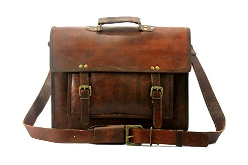 Hlc Real Leather Messenger Cum Laptop Cross Body Satchel Brown Bag Briefcase
