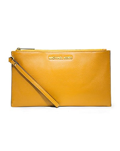 Michael Kors Bedford Pebbled Leather Large Zip Clutch Vintage Yellow