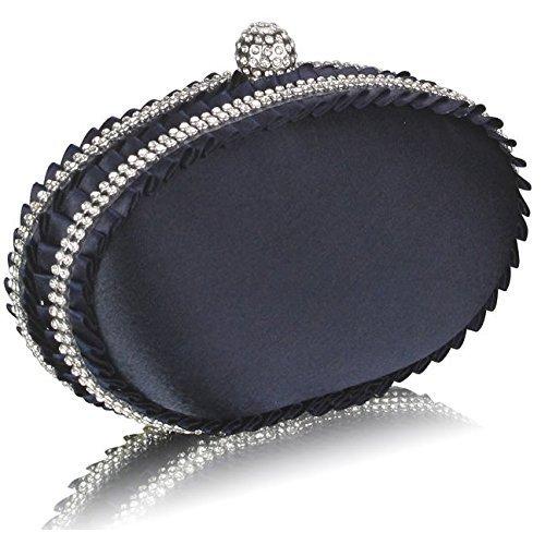 Ladies Navy Blue Oval Satin Diamantes Designer Evening Clutch Bag KCMODE