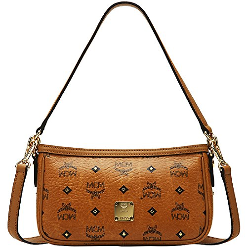 2014 NWT Authentic MCM Mini Shoulder Bag Gold Visetos Cognac Brown Leather for Women Brown (Cognac) Color MWS2AVI31CO