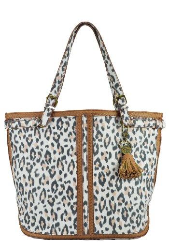 Jessica Simpson Fiona Tote Travel Tote, White Leopard/Suntan, One Size