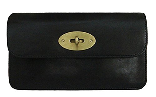 Lush Leather Turnlock Flap Clutch Wallet