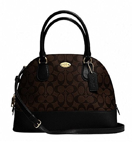 Coach Signature Cora Domed Satchel in Brown & Black