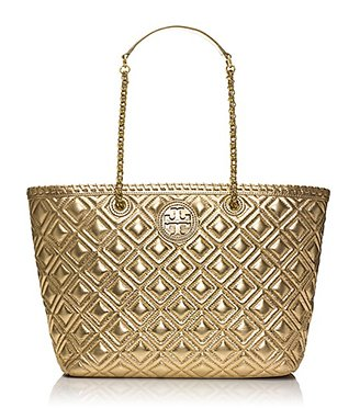 Tory Burch Marion Quilted Metallic Small E/w Tote
