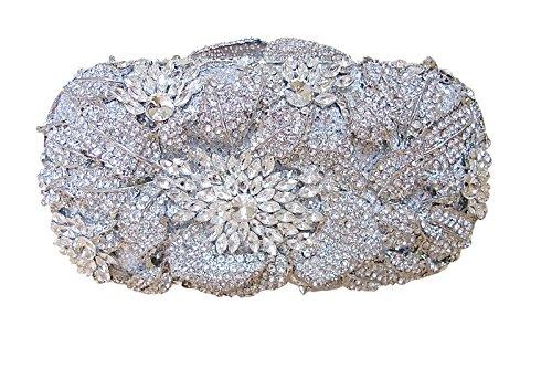 Natasha Crystal Rhinestone Floral Bridal Clutch
