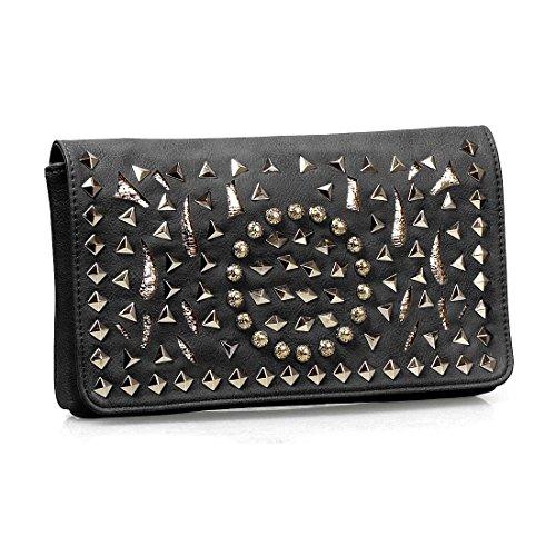 BMC Womens PU Faux Leather Gold Accent Metal Rivet Stud Flap Clutch Handbag