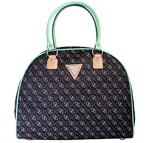 Guess Woodhaven Dome Travel Tote Bag Handbag, Black / Grey