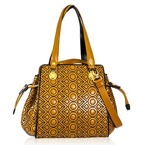 Valentino Orlandi Italian Designer Camel w/Black Circles Quilting Leather Bucket Bag