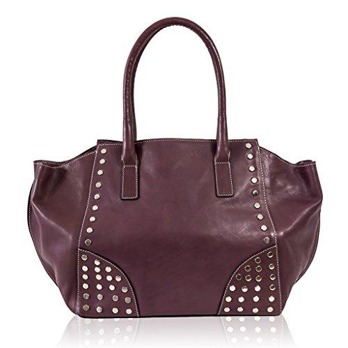 Ghibli Italian Designer Pink Leather Large Flared Satchel Purse Bag w/Studs