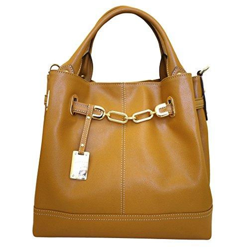 Carbotti Designer Italian Gold Chain Leather Hobo Handbag Shoulder Bag in Honey