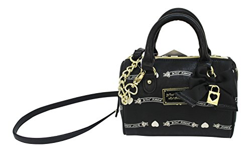Betsey Johnson Speedy Signature Heart Banner Black Bag with Bow