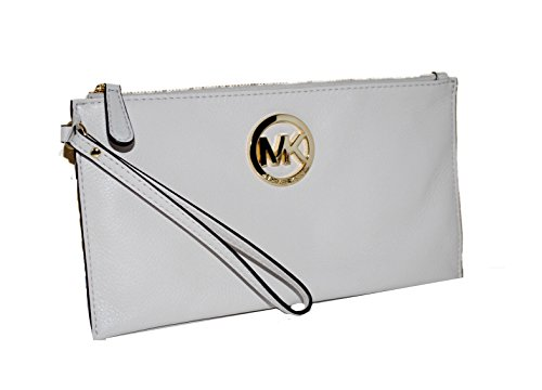 Michael Kors Fulton Large Vanilla Leather Top Zip Clutch / Wristlet