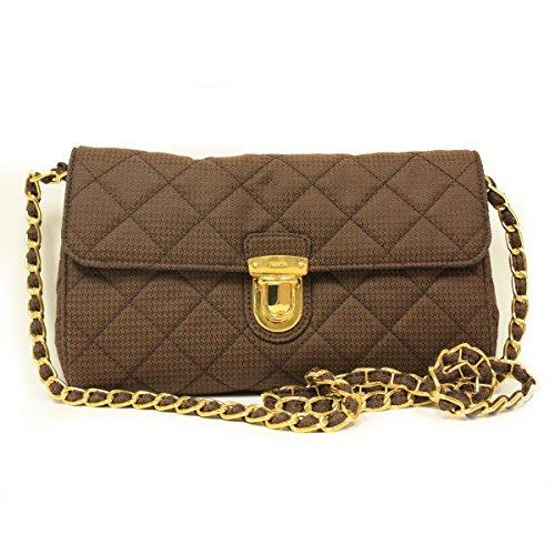 Prada BP0584 Tessuto Impuntu Pattina Brown Quilted Nylon Chain Clutch Shoulder Bag