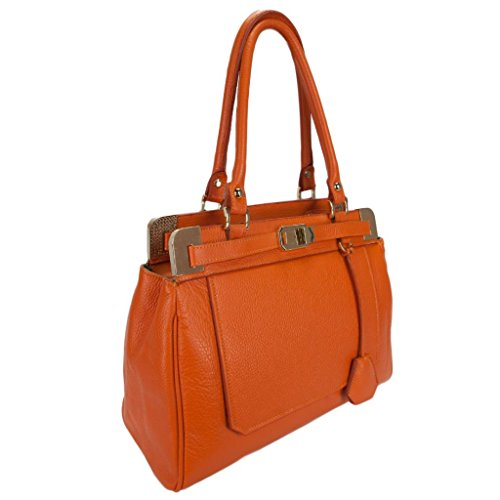 HS 5188 AR CARA Made in Italy Orange Structured Leather Shoulder/ Tote Bag