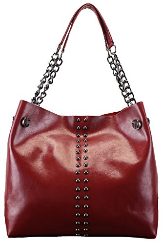 Heshe 2015 New Women's Genuine Waxy Leather Shoulder Bag Satchel Top-handle Tote Handbag Hot Sell Rivet Lash Package with Chain