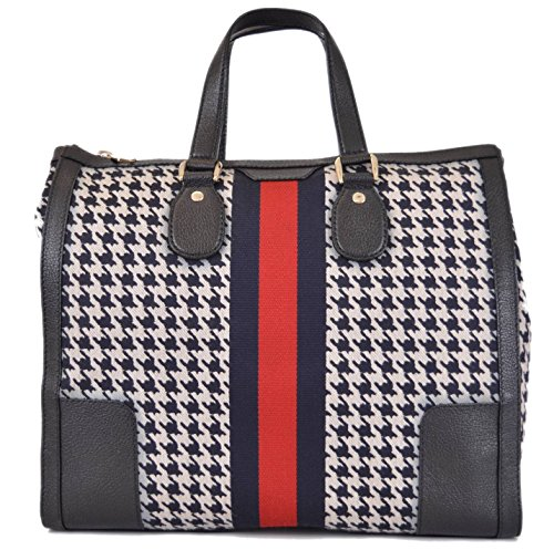 Gucci Women's 271624 Seventies Houndstooth Poule Web Stripe Purse Handbag