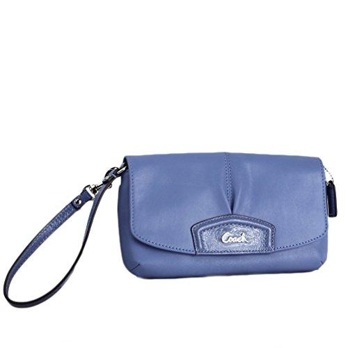 Coach Large Flap Leather Wristlet Wallet Purse Z52168 – Periwrinkle