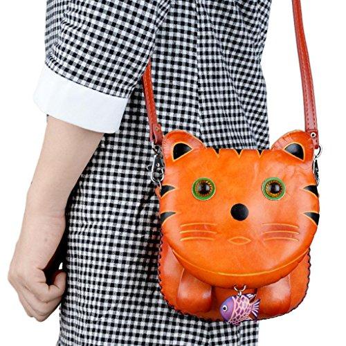 Yahoho Women's Pet Cat With Fish Cross Body Bag Genuine Leather Handbag Orange