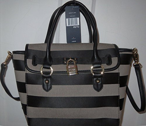 Tommy Hilfiger Handbag Satchel Bag Lock Canvas Black