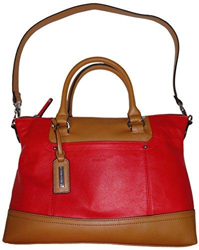 Tignanello Womens Smooth Operator Convertible Leather Satchel Lipstick/Cognac