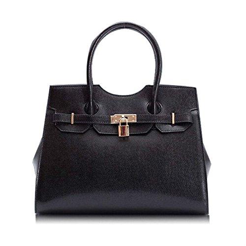 Kattee Women's Italian Leather Belt & Lock Satchel Handbag