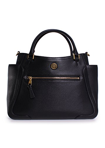 Tory Burch Frances Leather Satchel in Black