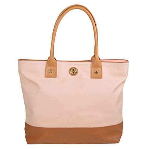 Tory Burch Colorblock Medium Jaden Tote Pink Shell/ Aged Vachetta