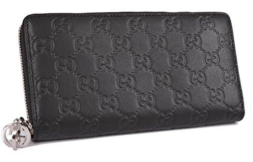 Gucci 307986 Guccissima Black Leather Zip Around Wallet Clutch W/g Charm $990