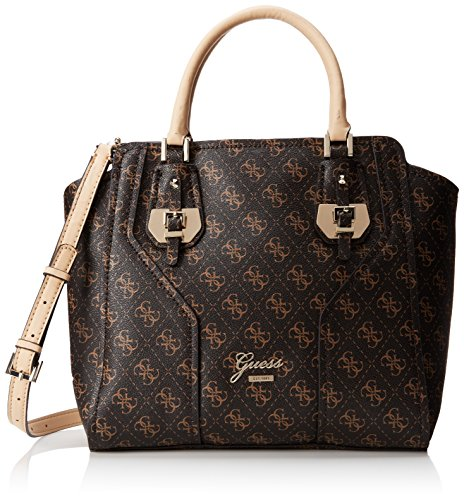 Guess Confidential Logo Avery Satchel Brown