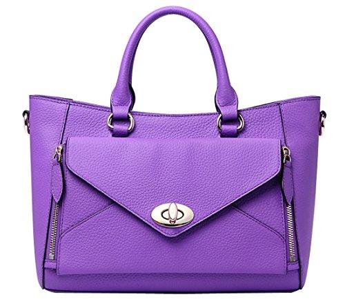 QW 2015 Women's 100% Genuine Leather OL Simple Style Fashion Tote Top Handle Shoulder Crossbody Bag Satchel Purse Handbag