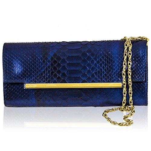 Ghibli Italian Designer Sapphire Blue Python Leather Gilded Envelope Clutch Bag