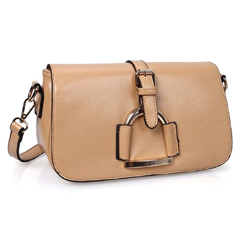BMC Womens PU Faux Leather Magnetic Envelope Belt Strap Design Handbag Purse