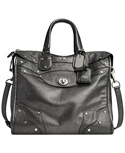 Coach Rhyder 33 Satchel in Metallic Leather Antique Gunmetal