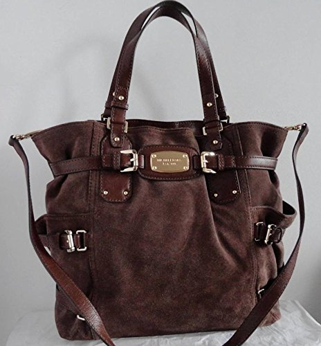 Michael Kors Gansevoort NS Large Suede Mocha Chocolate Brown Leather Tote Bag