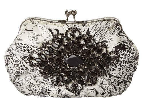 Mary Frances Aria White Floral Leaf Rhinestone Beaded Brooch Convertible Clutch