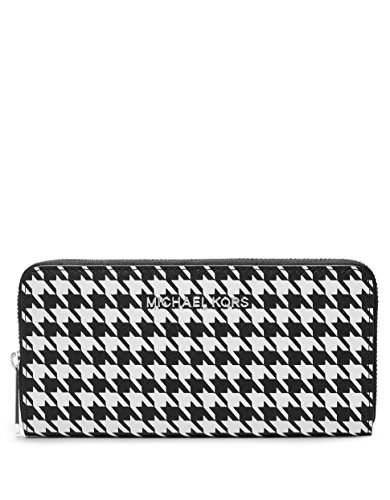 Michael Kors Jet Set Travel Zip Continental Saffiano Wallet Black/white